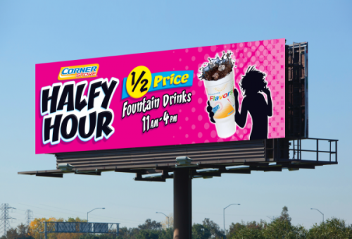 Simple, bold, and actionable work best for billboard design.